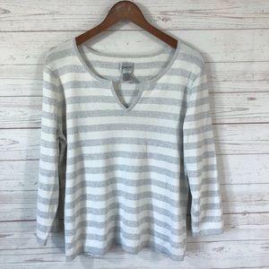 Chico's 3/4 Sleeve Silk Blend Striped Sweater Sz 3